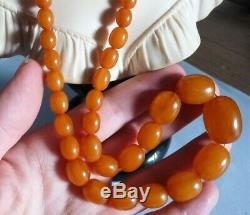 Antique Natural Amber Baltic Beads Neklace Collier Ancien Perles Ambre Veritable
