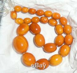 Antique Natural BALTIC Butterscotch AMBER Egg Yoke Beads Necklace Prayer 29g