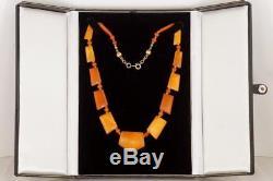 Antique Natural Baltic Amber Bead Art Deco Necklace with GCS Report Circa 1920's