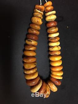 Antique Natural Baltic Amber Beads Gorgeous Necklace 81.5gr Butterscotch