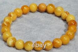 Antique Natural Baltic Amber Bracelet 9 G. Round Beads Yellow Beads Amber