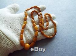 Antique Natural Baltic Amber Butterscotch Egg Yolk Beads Necklace 19gr