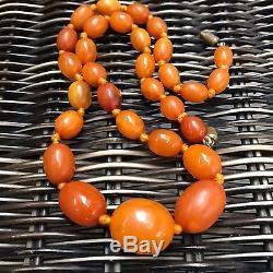 Antique Natural Baltic Amber Butterscotch Egg Yolk Beads Necklace c1920s