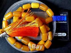 Antique Natural Baltic Amber ISLAMIC 33 PRAYER BARREL ROSARY Butterschotch 64.8g