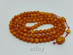 Antique Natural Baltic Amber ISLAMIC 99 PRAYER BEADS ROSARY Butterschotch 24.01g