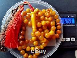 Antique Natural Baltic Amber ISLAMIC 99 PRAYER BEADS ROSARY Butterschotch 42.53g