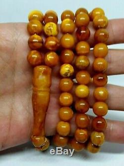 Antique Natural Baltic Amber ISLAMIC 99 PRAYER BEADS ROSARY Butterschotch 46,82g