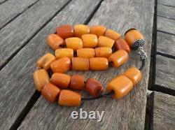 Antique Natural Baltic Amber Kahraman Butterscotch Egg Yolk Prayer Beads 68grams
