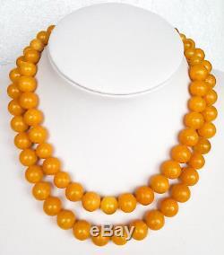 Antique Natural Baltic Amber Necklace Genuine eggyolk Amber Ambar