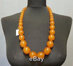 Antique Natural Baltic Amber Oval Beads Necklace 130 Gr