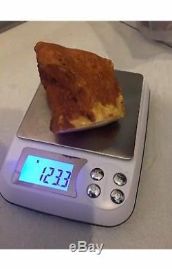 Antique Natural Baltic Amber Raw Stone 123 grams Bernstein Roh White