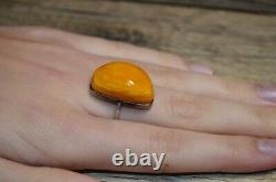 Antique Natural Baltic Amber Ring 875 Silver Butterscotch Royal White 5,0g