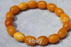 Antique Natural Baltic Amber Yellow White Collectible Color Bracelet 9 Grams