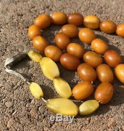 Antique Natural Baltic Butterscotch Egg Yolk Amber Barrel Necklace 30.4g 20.5