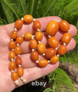 Antique Natural Baltic Butterscotch Egg Yolk Amber Swirl Bead Necklace 17.6g
