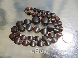 Antique Natural Baltic Rootbeer Cognac Amber Unusual Bead Necklace 61g