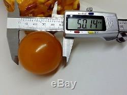 Antique Natural Baltic Sea Amber Butterscotch Big Baroque Bead 69.72 gr