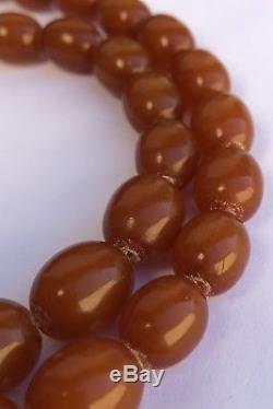 Antique Natural Butterscotch Baltic Amber Beaded Egg Yolk Necklace 64.3 Gr -31