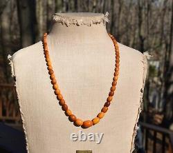 Antique Natural Butterscotch Baltic Egg Yolk Amber Necklace Oval Beads 29 14K