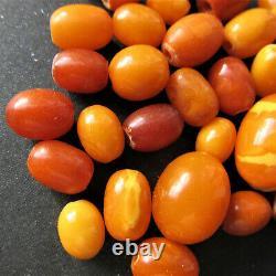 Antique Natural Butterscotch Egg Yolk Baltic Amber Beads 12g