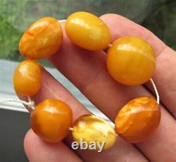 Antique Natural Butterscotch Egg Yolk Baltic Amber Beads 13.3g