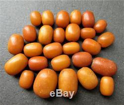 Antique Natural Butterscotch Egg Yolk Baltic Amber Beads 20.7g