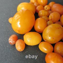 Antique Natural Butterscotch Egg Yolk Baltic Amber Beads 42.3g