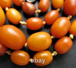 Antique Natural Butterscotch Egg Yolk Baltic Amber Beads Necklace 13.5g