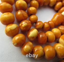 Antique Natural Butterscotch Egg Yolk Baltic Amber Beads Necklace 14.6g