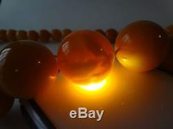 Antique Natural Butterscotch Egg Yolk Baltic Amber Beads Necklace 159 grams