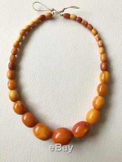 Antique Natural Butterscotch Egg Yolk Baltic Amber Beads Necklace 15Gr
