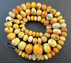 Antique Natural Butterscotch Egg Yolk Baltic Amber Beads Necklace 17.8g