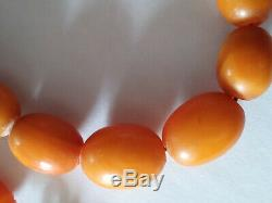 Antique Natural Butterscotch Egg Yolk Baltic Amber Beads Necklace 18 in / 45 cm