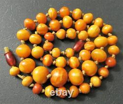 Antique Natural Butterscotch Egg Yolk Baltic Amber Beads Necklace 20.3g