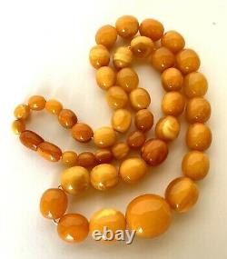 Antique Natural Butterscotch Egg Yolk Baltic Amber Beads Necklace 22 41.5 Grams