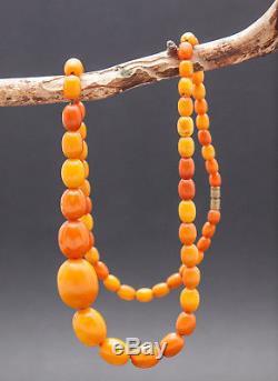Antique Natural Butterscotch Egg Yolk Baltic Amber Beads Necklace 22.8Gr