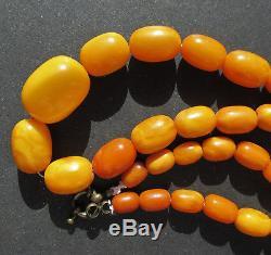 Antique Natural Butterscotch Egg Yolk Baltic Amber Beads Necklace 23.9Gr