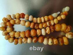 Antique Natural Butterscotch Egg Yolk Baltic Amber Beads Necklace 23.9g