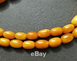 Antique Natural Butterscotch Egg Yolk Baltic Amber Beads Necklace 29.1g