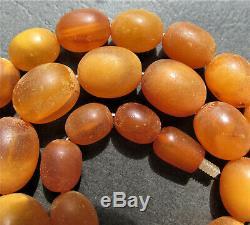 Antique Natural Butterscotch Egg Yolk Baltic Amber Beads Necklace 39g