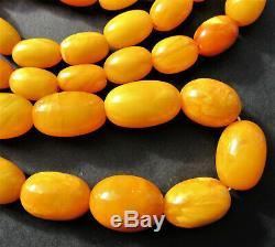 Antique Natural Butterscotch Egg Yolk Baltic Amber Beads Necklace 42g