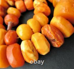 Antique Natural Butterscotch Egg Yolk Baltic Amber Beads Necklace 43.5g