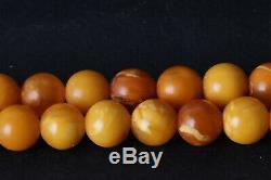 Antique Natural Butterscotch Egg Yolk Baltic Amber Beads Necklace 49.82 gr