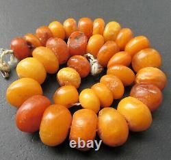 Antique Natural Butterscotch Egg Yolk Baltic Amber Beads Necklace 50g