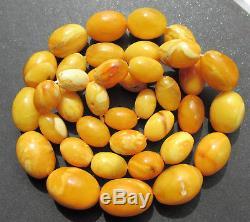 Antique Natural Butterscotch Egg Yolk Baltic Amber Beads Necklace 51.2Gr