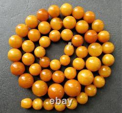 Antique Natural Butterscotch Egg Yolk Baltic Amber Beads Necklace 56g