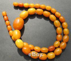 Antique Natural Butterscotch Egg Yolk Baltic Amber Beads Necklace 58Gr