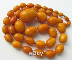 Antique Natural Butterscotch Egg Yolk Baltic Amber Beads Necklace 63.4g