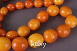 Antique Natural Butterscotch Egg Yolk Baltic Amber Beads Necklace 72.83 gr