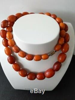 Antique Natural Butterscotch Egg Yolk Baltic Amber Beads Necklace 78.8 Grams